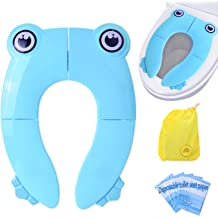 Blue Non-Slip Reusable Toilet Pads for Toddler SEN KEY Upgrade Portable Toilet Training Seat with Splash Guard Baby and Kids Folding Travel Potty Seat Covers Liners with Carry Bag