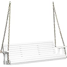 2-Person Heavy Duty Swing Bench for Garden and Backyard Black 64W x 23.6D Mupater Outdoor Patio Hanging Wooden Porch Swing with Chains