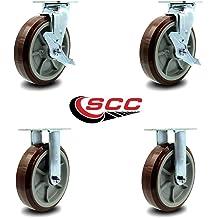 ZXHAO 2 inch Low Profile Solid Black Rubber Rubber Wheel Swivel Plate Casters 4pcs