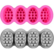Fewo 2 Pcs Massage Bar Silicone Molds 4 Cavities 4.5oz Soap Mold for DIY Soap Candle Chocolate Pack of 2