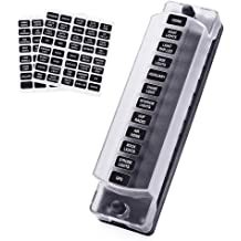 YaeAuto 6 Way Blade Fuse Box Block Holder with LED Indicator,Circuits with Cover and Negative Bus for Car Boat Marine