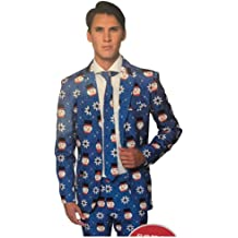 Suitmeister Christmas Suits for Men M Ugly Xmas Sweater Costumes Include Jacket Pants /& Tie Christmas Blue Snowman
