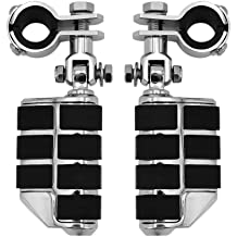F FIERCE CYCLE 2pcs Aluminum Alloy Rubber Motorcycle Engine Guard Foot Rest Pegs Chrome for Harley Touring Street Glide