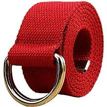 Men Women Junior Double Loop Canvas Belt Plain Students Lovers Waistband Fashion Trend Gold Buckle Navy Tactical Belt