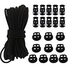 10 Sing-Hole /& 10 Double-Hole End Spring Toggle Stopper Slider with Stretch String 50Ft 1//8 Elastic Bungee Shock Cord 20 Pcs Cord Locks Kit