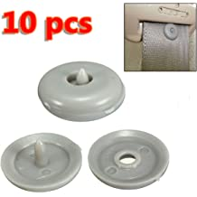 kaaka 10Pcs Universal Plastic Car Seat Belt Buckle Position Limiter Buttons Gray