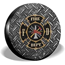 RV Car Tire Cover Sunscreen Protective Cover Fire Department Logo Firefighter Water Proof Universal Spare Wheel Tire Cover Fit for Trailer SUV and Various Vehicles 14 15 16 17 Inch