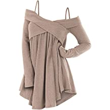 f6b508dfab814 ZEZCLO Cold Shoulder Crisscross Tunic Sweater Women Straps Long Sleeve  Knitwear Pullover Shirt Tops
