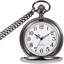 a480d795f WIOR Classic Smooth Vintage Pocket Watch Sliver Steel Men Watch with 14''  Chain for