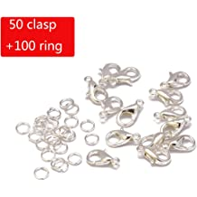 Silver Hyamass 200pcs Curved Lobster Clasps 5x10mm Silver Plated Lobster Claw Clasps DIY Jewelry Fastener Hook,Necklace DIY Fasteners