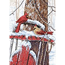 11 x 14 14 Count Black Aida Dimensions Winter Cardinal Counted Cross Stitch Kit