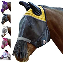 Horse UV Bug Protection Airflow Mesh Summer Fly Mask With Ears Nose White 73249