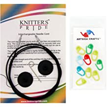 Knitters Pride Knitting Needles Zing Fixed Circular 16 inch Size US 0 2mm Bundle with 10 Artsiga Crafts Stitch Markers 140061