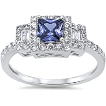 CloseoutWarehouse Round Simulated Sapphire Cubic Zirconia Twin Row Ring Sterling Silver 925 Size 9