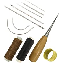 Pili-Paradise Leather Craft Hand Sewing Needles Sewing Needles with Leather 5 Thread Cord and Drilling Awl and Thimble for Leather Repair