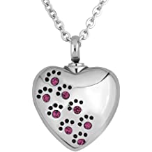 0710f54a2 LovelyCharms Urn Necklace for Ashes Pet Paw Prints Heart Necklace Stainless  Steel Keepsake Memorial Cremation Jewelry