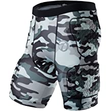 TUOY Padded Compression Sports Protective Shorts Hip and Thigh Protector Suit for Football Basketball Paintball Rugby Parkour Extreme Exercise