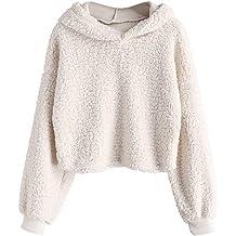 2f93bc16fc ZAFUL Women's Long Sleeve Hoodie Faux Fur Solid Color Crop Pullover  Sweatshirt