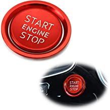 iJDMTOY 1 Gloss Red Real Carbon Fiber Keyless Engine Start//Stop Push Start Button Cover Compatible With Audi A4 A5 A7 A8 Q3 Q5 Q7, etc.