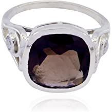 Ornaments /& Accents top Selling Shops Gift for Wedding Greatest Rings Nice Gemstone Round Faceted Smokey Quartz Ring Solid Silver Brown Smokey Quartz Nice Gemstone Ring