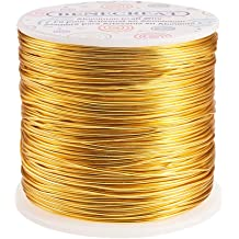 BENECREAT 32 Feet 2 Rolls 3mm Wide Flat Jewelry Craft Wire 18 Gauge Aluminum Wire for Bezel Jewelry Making Armature Gold Color Sculpting