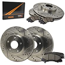 Premium Slotted Drilled Rotors + Ceramic Pads Chevy 2005-2007 Cobalt SS 2005-2012 Malibu 2008-2010 HHR SS Max Brakes Front Performance Brake Kit KT014931 Fits