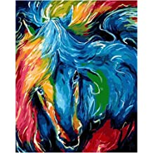 No Frame Paint by Numbers Kits DIY Oil Painting Home Decor Wall Value Gift Black Horse 16X20 Inch