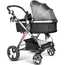45e25089d Infant Baby Stroller for Newborn and Toddler - Besrey Convertible Bassinet  Stroller Luxury Pram Compact Single