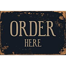 ORDER HERE /&  PICK-UP HERE Plastic SIGNS 8X12 w//Grommets Restaurant Black