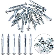 M6x65 Glarks 30Pcs 6x65MM Heavy Duty Zinc Plated Steel Molly Bolt Hollow Drive Wall Anchor Screws Set for Drywall Plaster and Tile