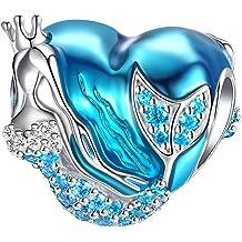 ce83d96de Mermaid Charms fit Pandora Charms Bracelet 925 Sterling Silver Charms Bead  CZ Heart Shape Blue Enamel Bead Ocean Sea Charm for Snake Bracelets .