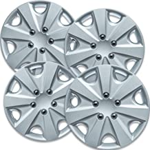 Snap On Hubcap 15 inch Hubcaps Best for 2009-2012 Toyota Yaris- Set of 4 Car Accessories for 15 inch Wheels Auto Tire Replacement Exterior Cap Wheel Covers 15in Hub Caps Silver Rim Cover