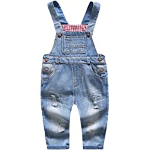 Kidscool Baby /& Little Boys//Girls Blue /& Black Denim Overalls