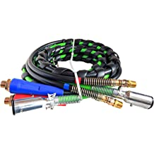 boeray 3 in 1 15 Ft Length Wrap Heavy Duty 7 Way Truck Tractor Trailer Rig Electric Cable Wrap Cord ABS /& Air Line Hose Assembly with Aluminum Emergency Universal Glad Hands and Anodized Glad Handle