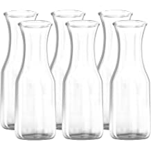 The LOVE Drink Pitcher and Elegant Wine Decanter Great for Parties and Events Pack of 6 By Kitchen Lux Wide Mouth for Classic Pouring Narrow Neck For Easy Grip 350 ml Glass Carafe
