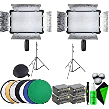 2 Godox LED Light Stick LC500 + Professional Cleaning Kit Godox 260T Air-Cushioned Light Stand 2