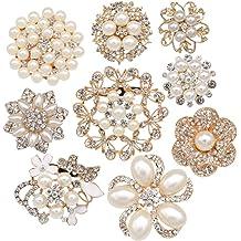 d95893b756d Lot 9pcs Rose Gold-tone Rhinestone brooches, eGlomart Big Pearl Crystal  wedding bouquet kit