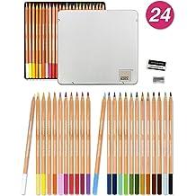 COLOUR BLOCK Colored Pencil Set 24 PC 24 Colored Pencils with Premiun Cedar Handle and Bonus Vinyl Eraser and Sharpener in a Tin Storage Box.