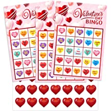 24 Pieces Player Valentines Day Bingo Game and 10 Sheet Valentines Day Tattoo Stickers Decals As Party Favor Class Game for Boys and Girls School Activities