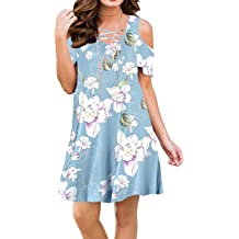e91c8f30acc BLUETIME Women Summer Cold Shoulder Criss Cross Neckline Short Sleeve  Casual Tunic Top Dress (S