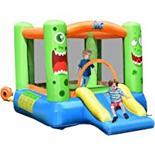 Kids Party Jump Bouncer House w//Net Costzon Inflatable Bounce House Castle Jumper Slide Mesh Walls Castle Theme w// 480W Air Blower Carry Bag Without Blower