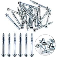 Glarks 30Pcs 4x32MM Heavy Duty Zinc Plated Steel Molly Bolt Hollow Drive Wall Anchor Screws Set for Drywall Plaster and Tile M4x32