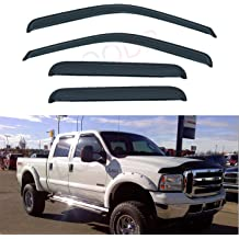 D/&O MOTOR 4pcs Front+Rear Smoke Sun//Rain Guard Outside Mount Tape-On Window Visors for 1997-2003 Ford F-150,F-250 with Super Cab