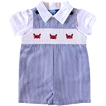 061aea15fecc9 Good Lad Newborn/Infant Boys Smocked Shortall Set with Crab Embroideries