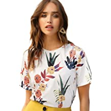 6033f09c81 SheIn Women's Casual Round Neck Rose Floral Print Short Sleeve Summer  Tee