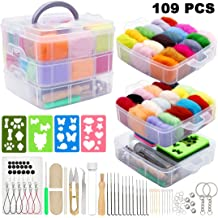 PP OPOUNT 60 Colors Wool Roving Needle Felting Starter Kit with Wool Felt Tools and Foam Mat for DIY Needle Felting