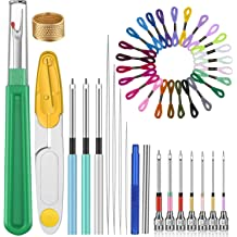Punch Needle Embroidery Kits Renewed Cross Stitch Tools Kit Threader and Thimble for Embroidery Floss Poking Cross Stitching Beginners BAGERLA 18 Pieces Punch Needle Tool Scissors Big Seam Ripper
