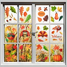 ShenBiadolr Fall Leaves Window Clings Decorations Thanksgiving Maple Autumn Decals Party Decor Ornaments