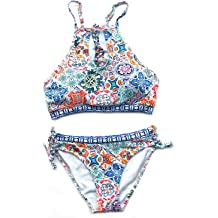 Women's Cupshe Ruffled Floral Bikini Set Size Small Multi-Color Floral Print NWT