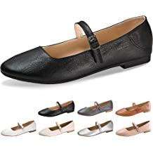0cb70b9a4 CINAK Flats Mary Jane Shoes Women's Casual Comfortable Walking Buckle  Classic Ankle Strap Style